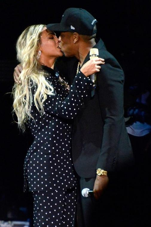 "Music's first couple Beyonce and Jay-Z -- shown here at an event for Democratic presidential candidate Hillary Clinton in November 2016 -- are expected to score some Grammy nominations for their joint project ""Everything is Love"""