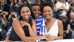 Wanuri Kahiu, the writer and director of the controversial lesbian film – Rafiki with cast members at the Cannes Festival