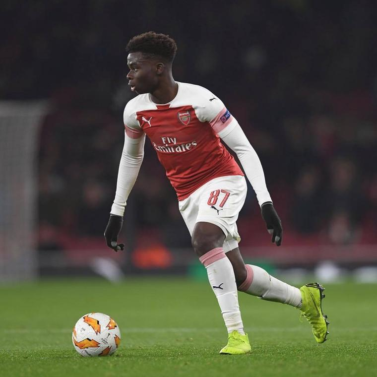 Bukayo Saka made his first appearance for Arsenal in the Europa League