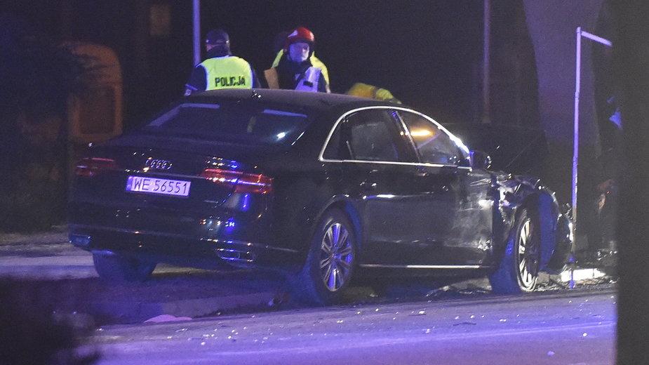 Rozbity samochód rządowy w Oświęcimiu (11.02.2017)