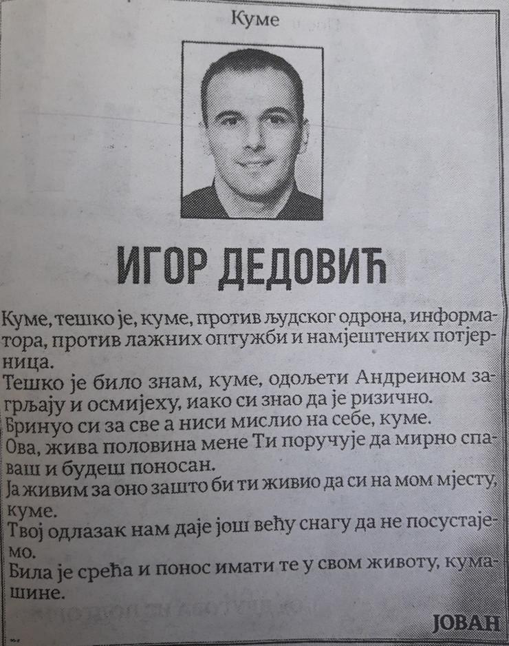 čitulja Igoru Dedoviću, Jovan Vukotić