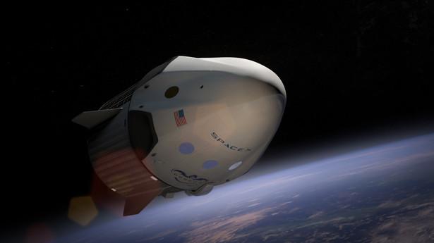 Statek Dragon V2 na orbicie. Źrodło: SpaceX
