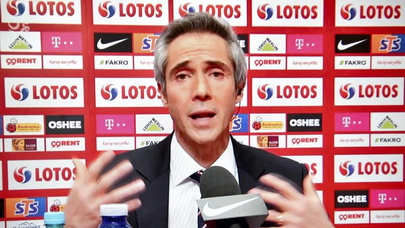 Nowy selekcjoner piłkarskiej reprezentacji Polski Paulo Sousa podczas konferencji prasowej online, w siedzibie PZPN