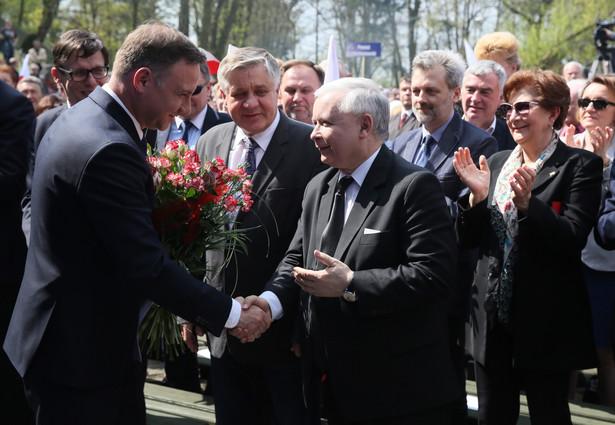 Jarosław Kaczyński i RP Andrzej Duda podczas Obywatelskiej Konwencji Patriotycznej w Pułtusku