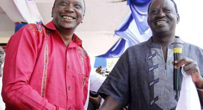File image of President Uhuru Kenyatta with Raila Odinga