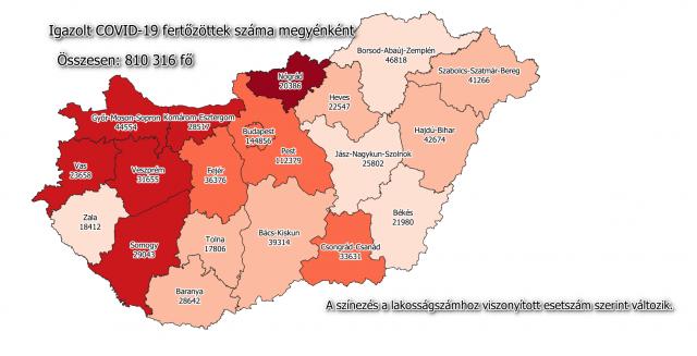 A fertőzöttek megoszlása megyénként / Fotó: koronavirus.gov.hu