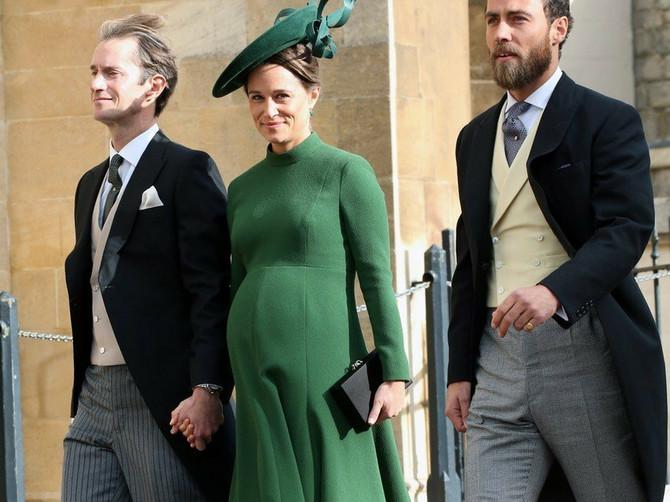 Pipa Midlton sa suprugom i sinom na venčanju princeze Eugenije i Džeka Bruksbenka