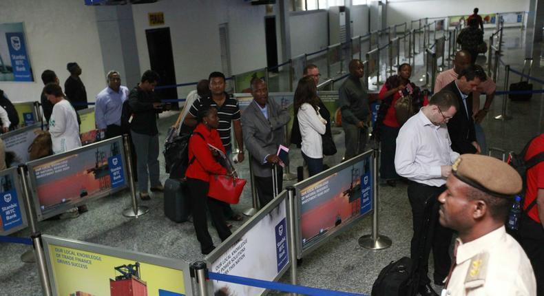 Travelers checking-in at Muritala Mohammed International Airport, Lagos