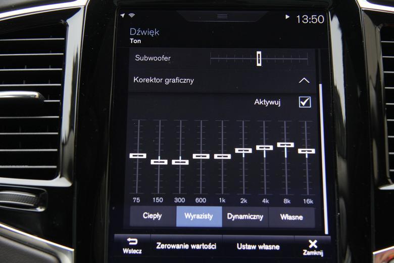 Volvo XC90 - indywidualna regulacja dźwięku poprzez 9 pasmowy korektor
