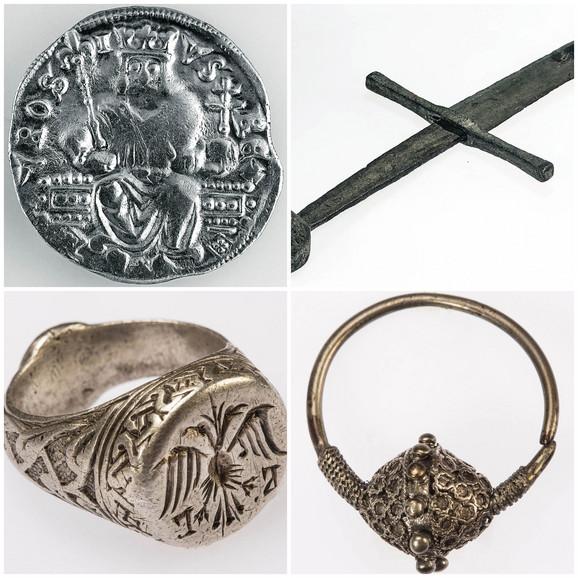 Dinar kralja Stefana Uroša II Milutina (1282–1321), mač (XIII-XIV vek), Prsten srebro (XIV vek), Naušnica srebro (XII vek)