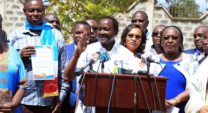 Wiper party leader Kalonzo Musyoka during a presser at the party headquarters on January 29, 2018 (Twitter)