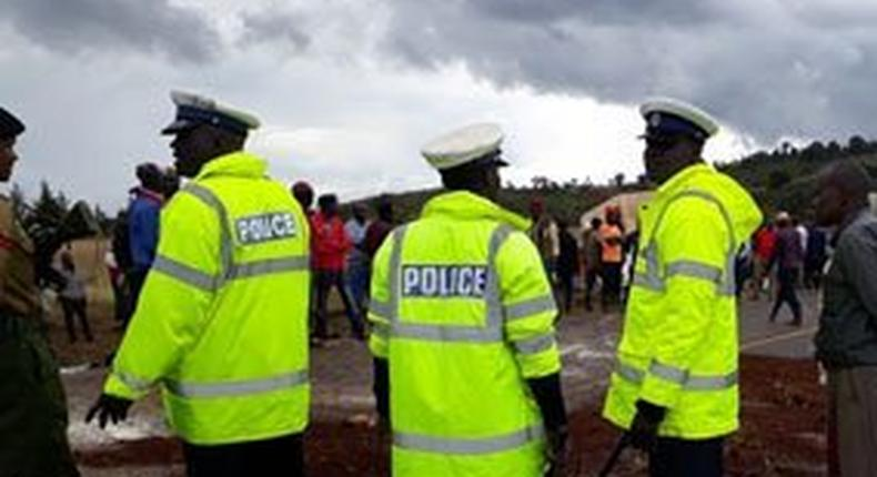 Police at an accident scene