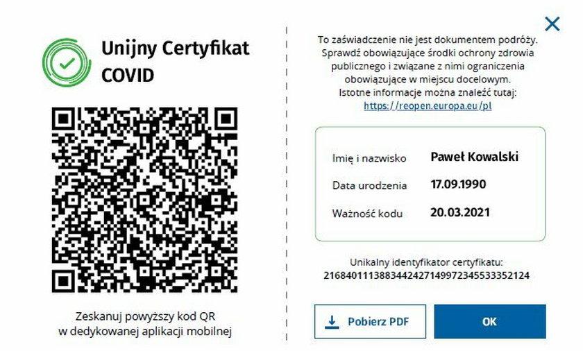 Unijny Certyfikat COVID. Tak wygląda dokument, który ułatwi nam podróżowanie.