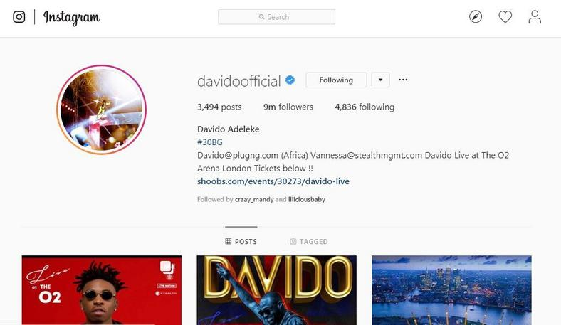 Davido's fan base hits 9 million on Instagram