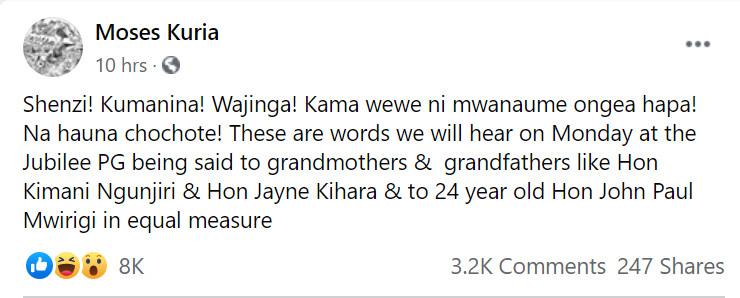 Moses Kuria's post on Facebook