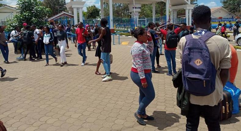 kenyatta university students pictured outside their campus after their strike (COURTESY)