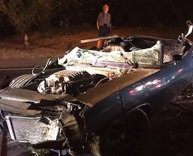 The car, an electric blue 1970 Plymouth Barracuda which Hart got for himself as a recent birthday gift crashed through a wooden fence and plunged down a gully.[PageSix]