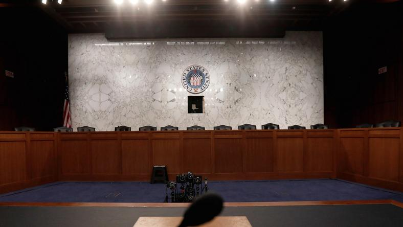The witness table where former FBI Director James Comey will face the US Senate Intelligence Committee and testify on Thursday about his meetings with President Trump.