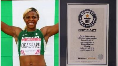 Nigerian athlete Blessing Okagbare gets into Guinness World Records for her appearances in Diamond League meetings
