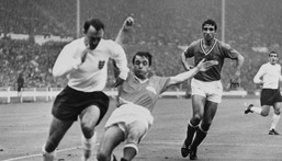 Former England striker Jimmy Greaves, seen here playing against France in the 1966 World Cup, has died aged 81 Creator: STRINGER