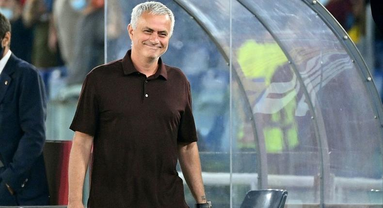 Roma coach Jose Mourinho insists he is in the new Europa Conference League to win it Creator: Vincenzo PINTO