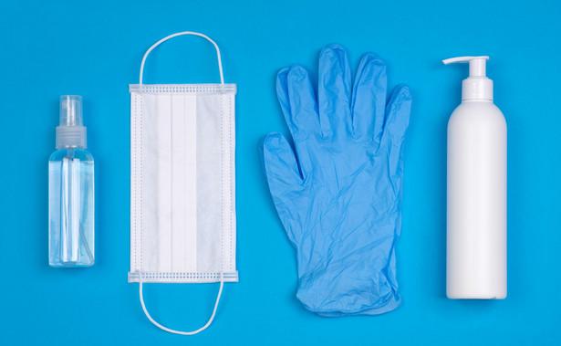 Środki odchrony przed Covid-19: rękawiczki, maseczka