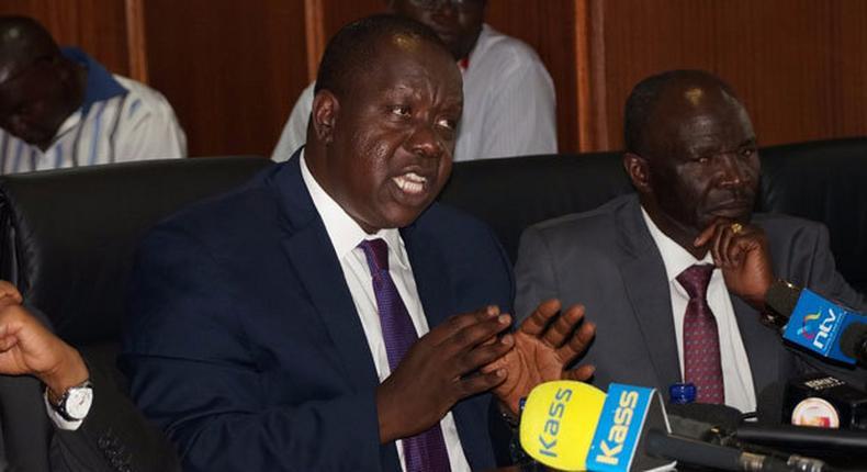 Interior CS Fred Matiangi and Immigration PS Gordon Kihalangwa