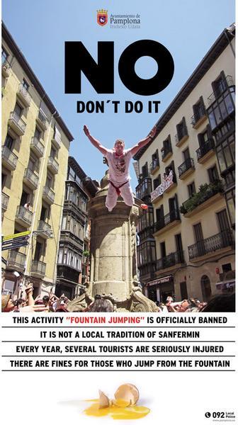 Plakat przypominający o zakazie skoków