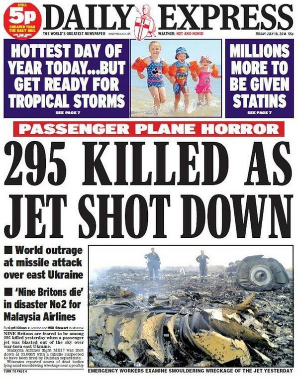 Okładka jenej z gazet po katastrofie