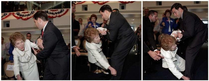 Żona Reagana się wywróciła