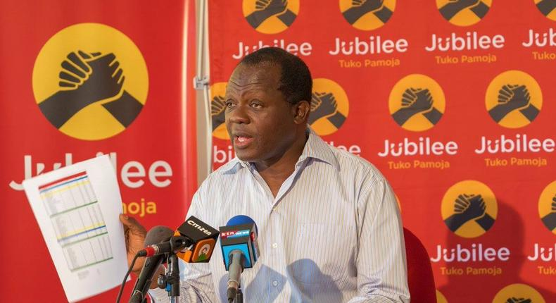 Raphael Tuju addressing a past press conference at Jubilee party headquarters