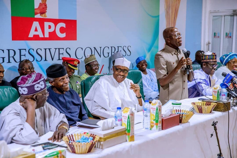 President Muhammadu Buhari, Vice President Yemi Osinbajo, APC Chairman Adams Oshiomhole and the party's national leader siwaju Bola Ahmed Tinubu at the APC Caucus meeting in Abuja on Monday, February 18, 2019 (APC media)
