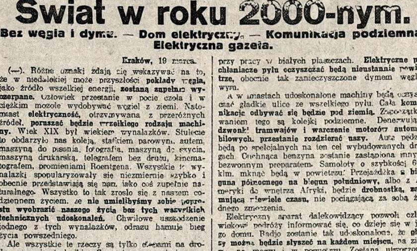 Redaktor-jasnowidz przewidział nasz świat w 1926 roku!
