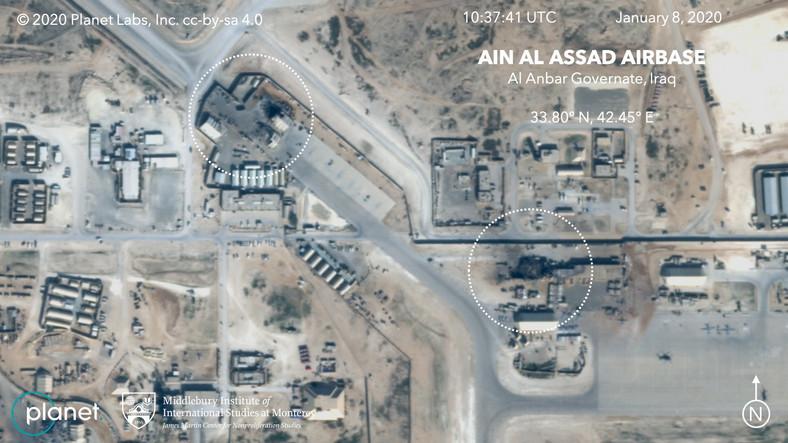 Pociski spadły jednak tylko na pas startowy i magazyny. Iran nie wycelował rakiet w koszary czy schrony.