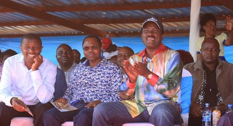Wiper party leader Kalonzo Musyoka with MPs Gideon Ndambuki and Daniel Maanzo