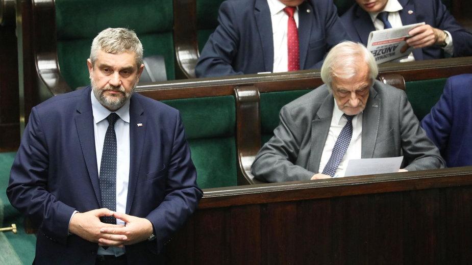 (od lewej) Jan Krzysztof Ardanowski i Ryszard Terlecki w Sejmie. 13.09.2018 r.