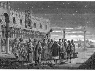 Galileo Galilei (1564-1642) demonstrating his telescope, Venice, 1609. In this artist's reconstructi