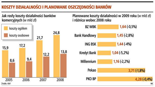 Kaszt działalności i planowane oszczędności banków