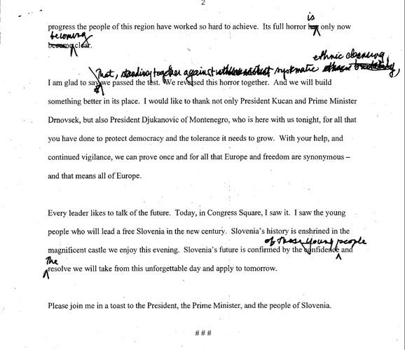 Dokument iz biblioteke bivšeg predsednika SAD Bila Klintona