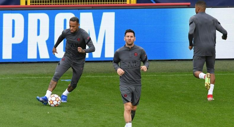 Lionel Messi with Neymar at PSG's training session in Bruges on Tuesday Creator: JOHN THYS