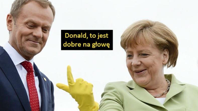 Prezydent Bronisław Komorowski, .zalecił swoim przeciwnikom lewatywę , która ponoć dobrze robi na głowę. Angela Merkel podchwyciła ten pomysł.