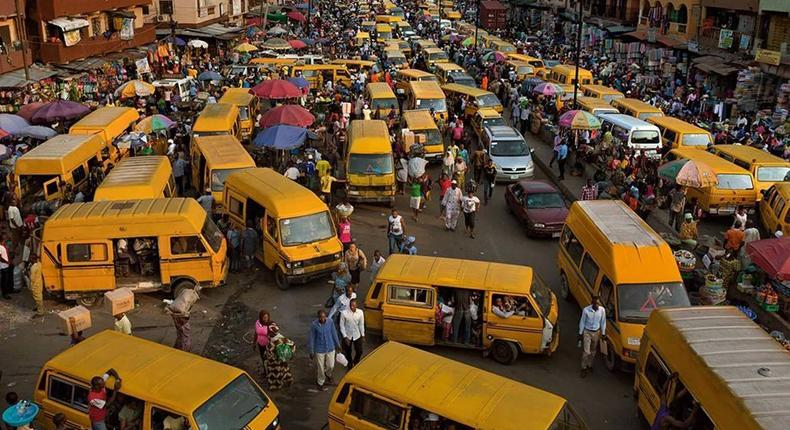 A typical bus stop in Lagos