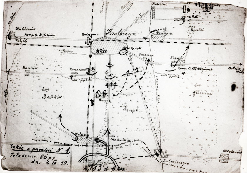 Mapa sporządzona przez polskich żołnierzy
