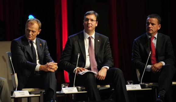 Predsednik Evropskog saveta Donald Tusk, premijer Srbije i izaslanik generalnog sekretara UN Kristijan Fris Bah
