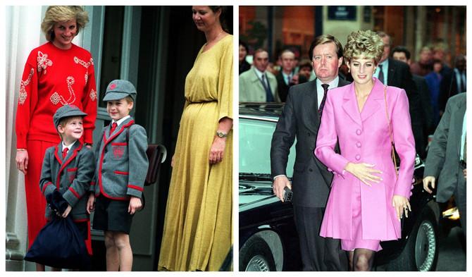 Prinčevi Hari i Vilijam sa majkom Dajanom i dadiljom 1987. u Londonu : Ken Varf sa Dajanom 1992. u Parizu