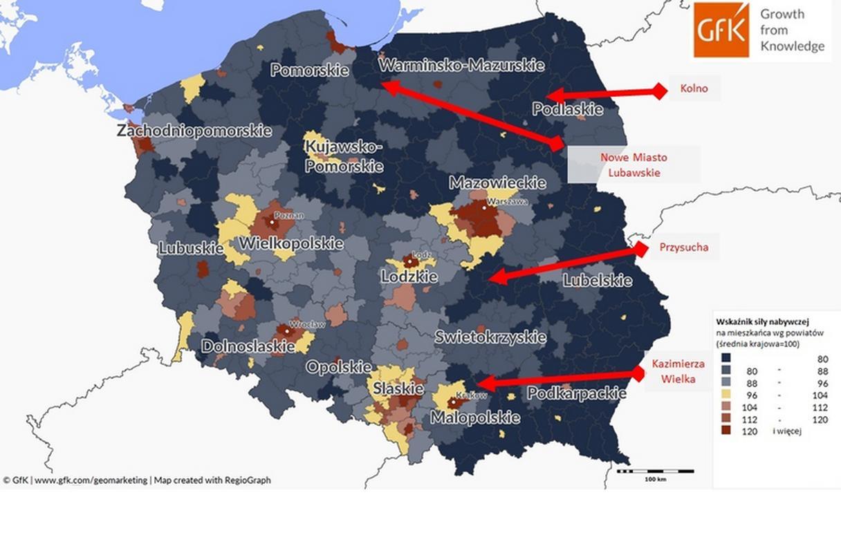 Mapa polskiej biedy i bogactwa (wyszczególniono najbiedniejsze miejscowości wskazane w raporcie GfK)