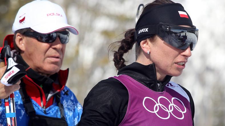 Justyna Kowalczyk z trenerem Aleksandrem Wierietielnym