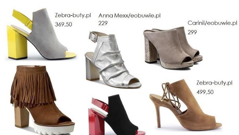 Prawdziwym hitem sezonu są botki z odkrytymi palcami i/lub piętą. Taki rodzaj buta doskonale uzupełnia eleganckie, minimalistyczne kreacje.