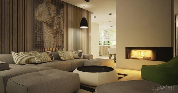 Nowoczesne wnętrze ocieplone drewnem - projekt Ejsmont