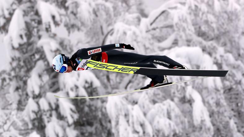 Kamil Stoch podczas serii treningowej przed zawodami mistrzostw świata w lotach narciarskich